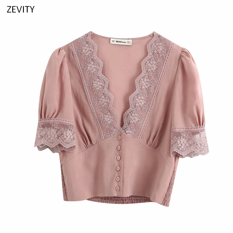 New 2020 Women Lace Crochet V Neck Patchwork Smock Blouse Female Pleat Puff Sleeve Buttons Shirt Chic Elastic Blusas Tops LS6714