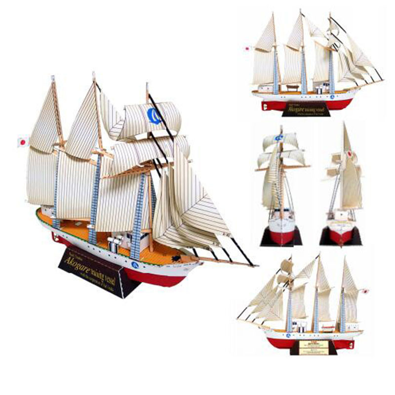Sailboat DIY 3D Paper Card Model Building Sets Construction Toys Educational Toys Military Model