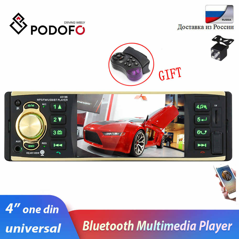 "Podofo Car Radio Stereo 4"" One Din Bluetooth Autoradio Audio Player FM Aux-IN SD USB 12V In-dash 1 din Car MP3 Multimedia Player"