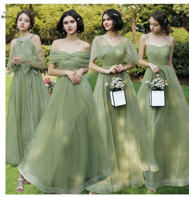 Beauty Bridesmaid Dresses 2019 Long Women Wedding Event Party Prom Dresses Lace Up A-Line Sleeveless Vestido Da Dama De Honra