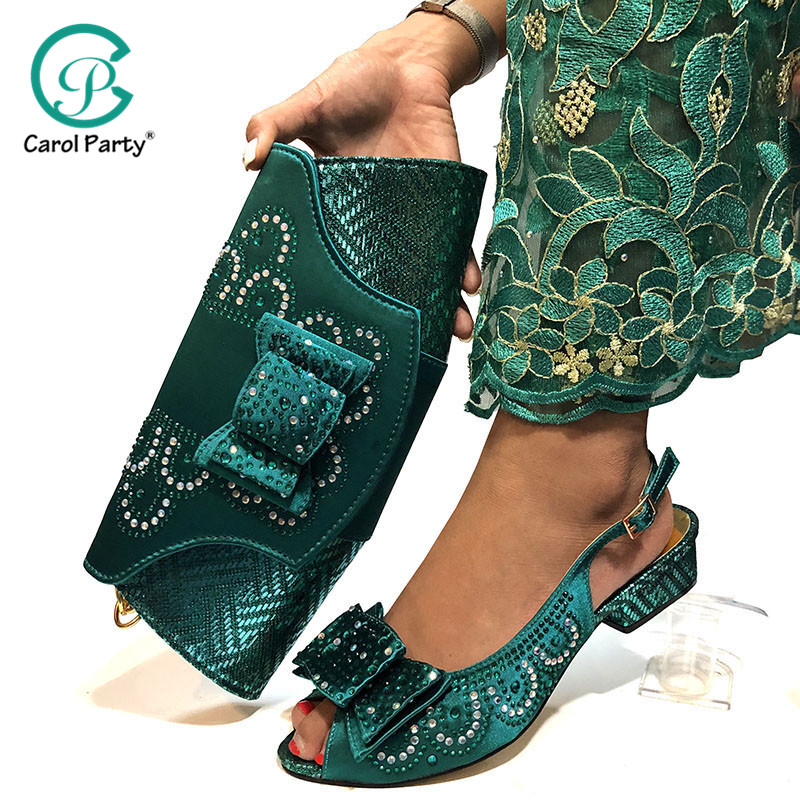 Teal Color Shoe and Matching Bag for Nigeria Party African Wedding Shoes and Bag Set Italian Women Wedding Shoes and Bag