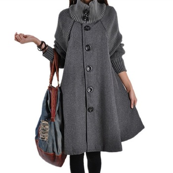 2019 Autumn And Winter Korean-style Plus-sized Women's Clothing Mid-length Loose-Fit Woolen Cloth Coat Cloak Woolen Trench Coat