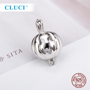Image 5 - Cloci 3 قطعة تصميم اليقطين مخيف الفضة قلادة لجميع القديسين 925 فضة اللؤلؤ المنجد قفص قلادة SC114SB