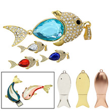 Diamond Animal Fish Necklace Usb Flash Drive Memory Stick Metal Fish Pen Drive Pendrive 4GB 8GB 16GB U Disk Key Chain Usb Drive(China)