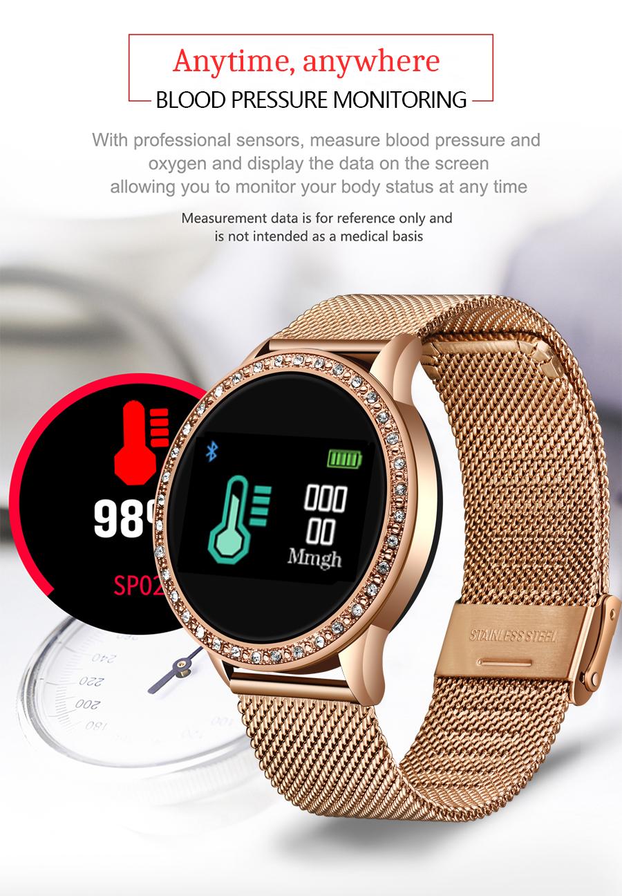 Reloj inteligente LIGE para mujer con monitor, seguidor Fitness de frecuencia cardíaca y presión arterial 4
