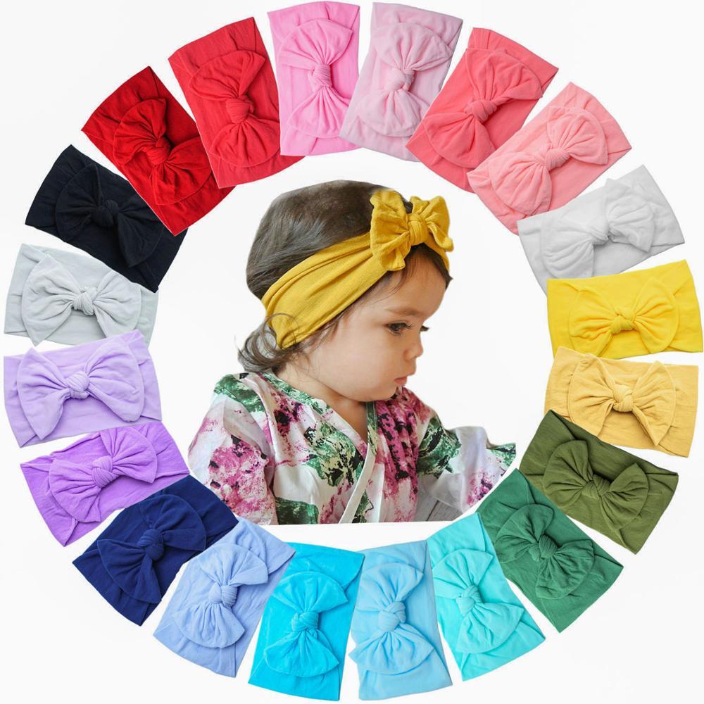 20 Цвета Детские нейлоновая завязанная в узел повязка на голову для девочек; Большой 4,5 дюймов заколки для волос головные обручи для малышей ...