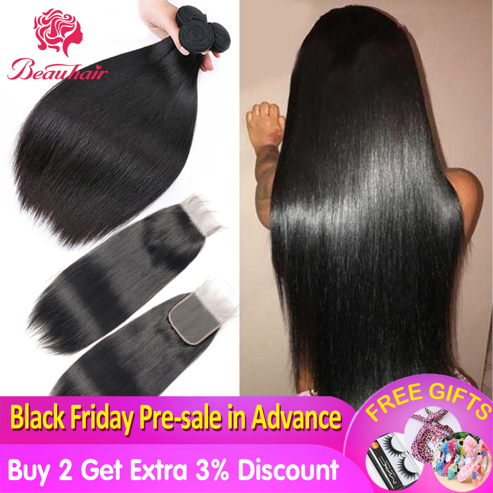 Peruvian Human Hair Straight Hair 3 Bundles With Closure Middle Lace Closure 3/4PCS Swiss Lace Human Hair Weave Non- Remy Hair