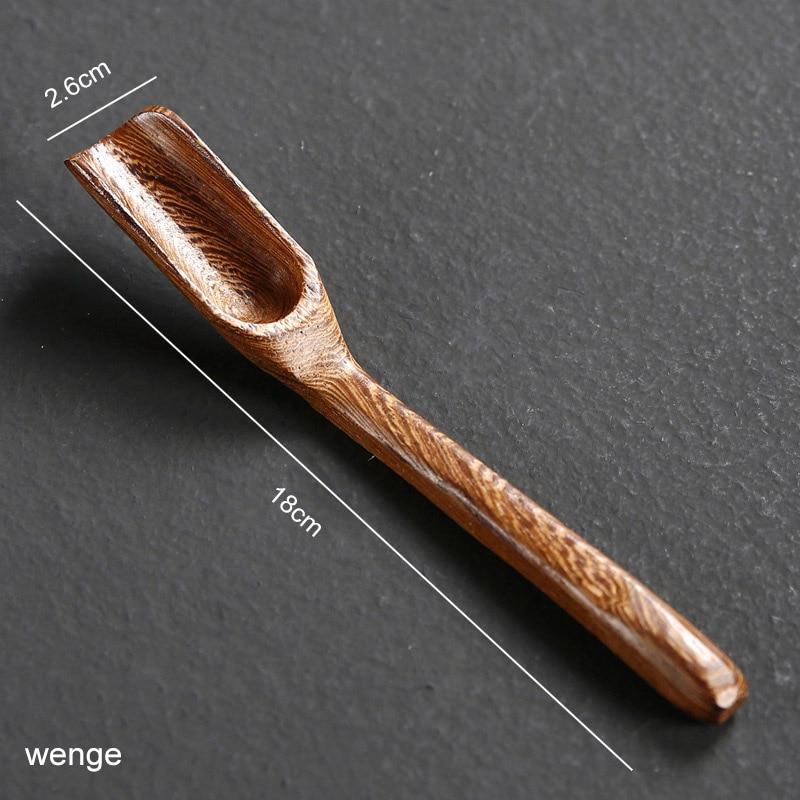 1 шт. портативная в китайском ретро-стиле деликатная Ложка деревянная бамбуковая натуральная чайная ложка аксессуары для чая - Цвет: wenge