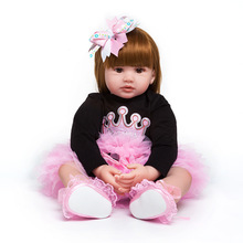60cm Silicone Full Body Reborn Doll Real Life golden Princess Baby Doll For Children's Day Gift Kid Xmas gif waterproof