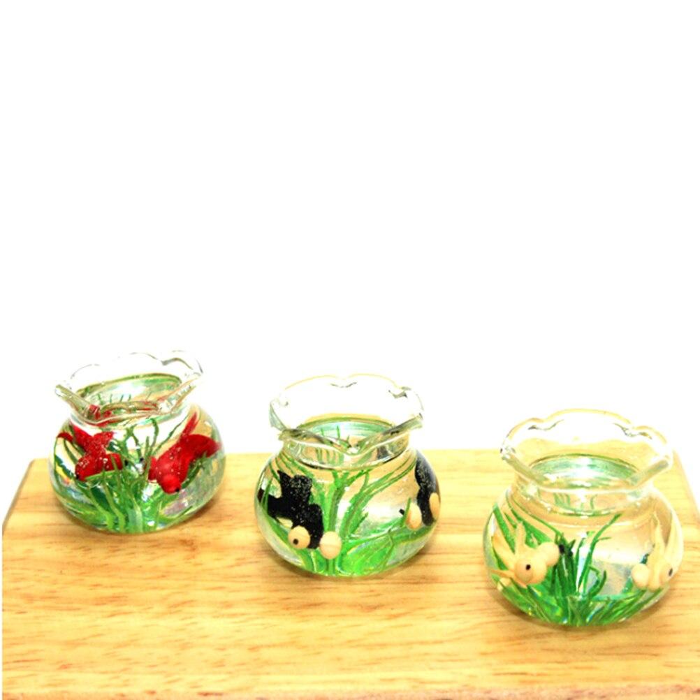 Mini 1:12 Dollhouse Miniature Glass Fish Tank Transparent Aquarium Dollhouse Ornaments Pretend Play Toys Kids Toys Doll Gifts