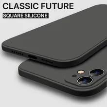 Liquid-Silicone-Case Back-Cover Square Orignal iPhone 12 Luxury for 11/Pro-xs/Max Mini-X-Xr