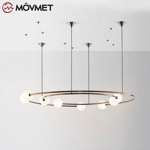 Минималистичный современный светодиодный светильник с подвеской Hme, Подвесная лампа золотого кофейного цвета