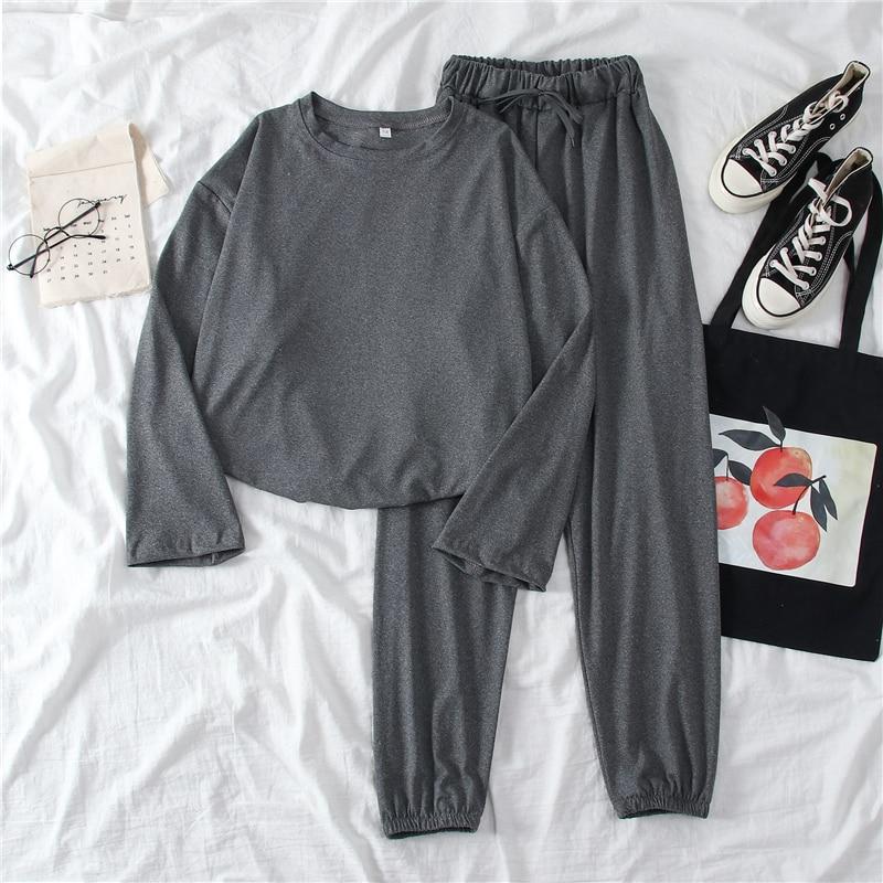 Summer Thin Pant Set Women Casual Long Sleeve Basic T-shirt + High Waist Harem Long Pant Trouser Female Two Pieces Set