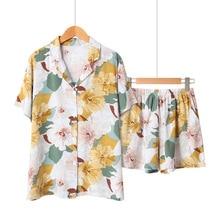 여성을위한 여름 새틴 짧은 소매 잠옷 턴 다운 칼라 잠옷 꽃 인쇄 pijama mujer 반바지 홈 의류 pj 세트