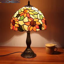 BOCHSBC Tiffany witraż szklany stół lampy Vintage słonecznik lampka na biurko salon lampka nocna do pokoju matowy nikiel szklana lampa światło tanie tanio ROHS CN (pochodzenie) Łóżko pokój MULTI Dół BOCHSBC-SF-20210114-1 Szkło Ue wtyczka 90-260 v Żarówki led Nikiel szczotkowany
