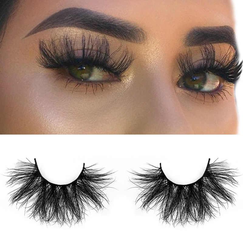 25 mm 3D Nerz Wimpern 100% Handmade Flauschigen Natürliche Lange Falsche Wimpern Verlängerung Groß Nerz Haar Volle Streifen Großhandel