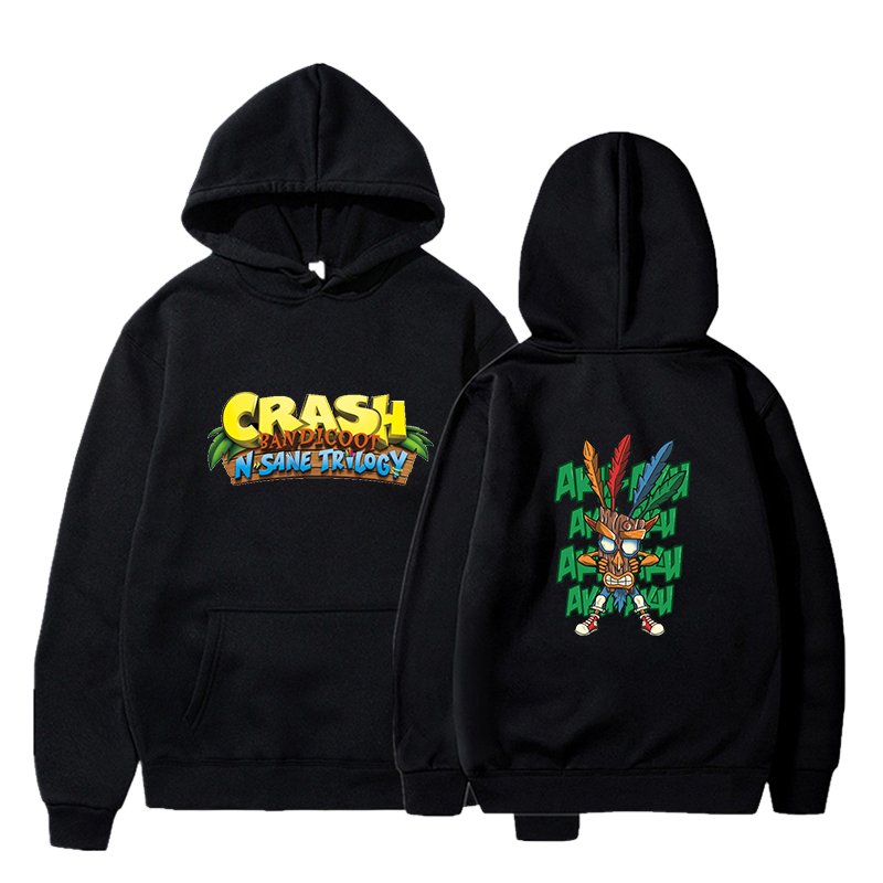 2020 men's autumn and winter Crash Bandicoot printed long-sleeved round neck pullover loose youth trend hoodie