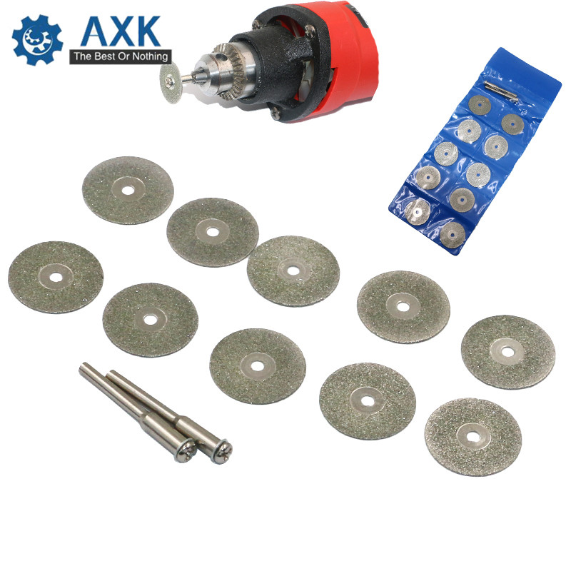 10psc 22mm Dremel Diamond Cutting Disc Rotary Tools Accessories Set With Mandrel 2pcs 3mm DT409
