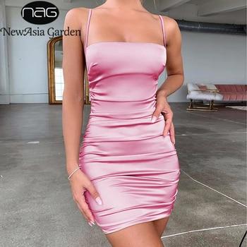 цена на NewAsia Garden Backless Sexy Dress Women Summer Spaghetti Straps Slash Neck Bodyocn Dress Pink Ruched Dress Short Ropa Mujer