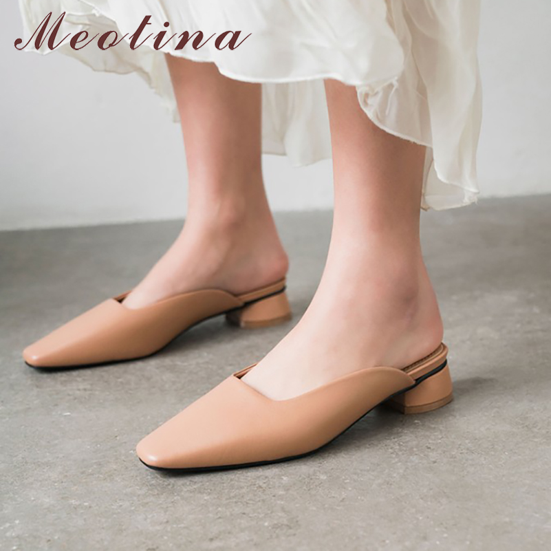 Meotina High Heels Women Pumps Natural Genuine Leather Thick Heels Mules Shoes Real Leather Square Toe Shoes Ladies Size 34-40