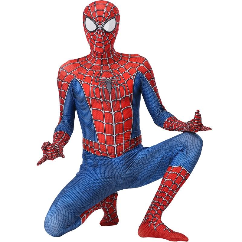 Aranha traje homem criança adulto cosplay halloween anime fantasia adulto malha vermelho macacão máscara manto olhos brancos menino padrão