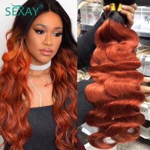 Image 5 - Sexay vücut gölgeli dalgalı saç demetleri dantel kapatma ile 350 turuncu altın sarışın Remy brezilyalı vücut dalga İnsan saç kapatma ile