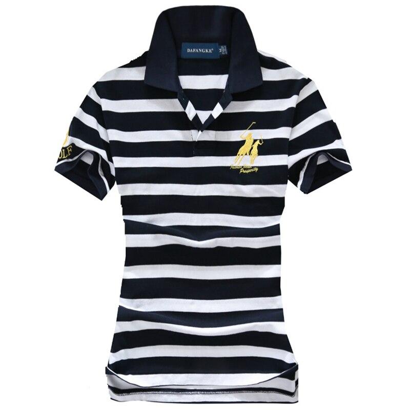 Fashion High Quality Womens Short Sleeve Striped Polos Horse Shirts Casual 100% Cotton Summer Ladies Lapel Tees Slim Female Tops