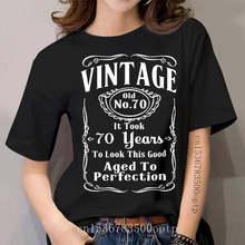 Vintage 70 Ans À La Perfection - 70Th Anniversaire 2020 Nouvelle Mode Décontracté femmes Nouveauté Haut Col En O Chemise Musculaire