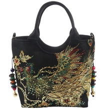 Shiny Sequins Peacock Embroidered Women Canvas Totes Bag, Summer Shopping Shoulder Bag Vintage Beaded String Handbag