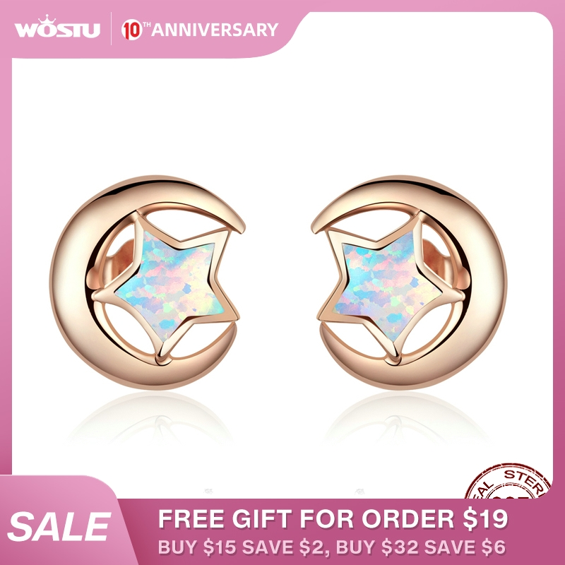 WOSTU 925 Sterling Silver Colorful Star Opal Rose Gold Stud Earrings For Women Wedding Earrings Fashion 925 Jewelry CQE816-C