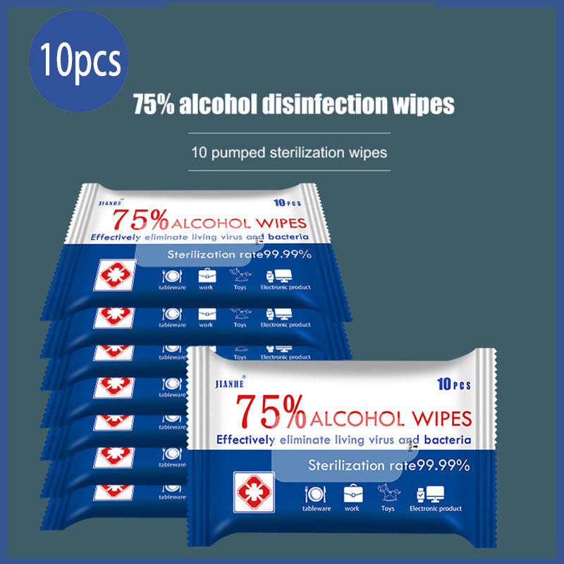 10pcs Disinfectant Wipes 75% Alcohol Clean Wipe Disposable Antispetic Cleaning Wet Wipes For Travel Mobile Makeup Water Wipes