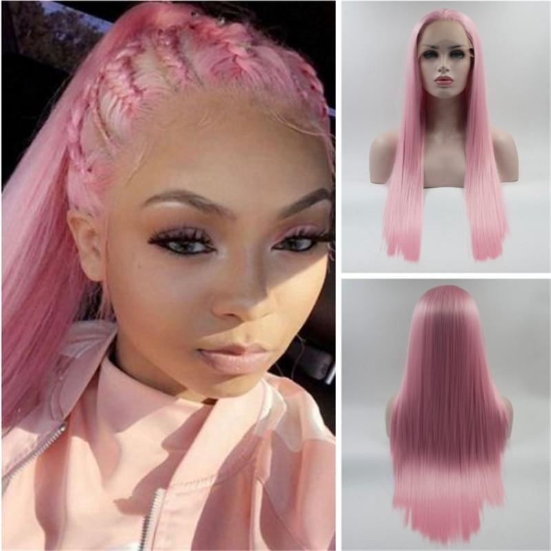 Живой розовый прямой синтетический парик 13*4 на фронте шнурка термостойкие волосы из волокон натуральные волосы с боковой частью для женщин парики для волос для малышей