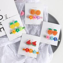2pcs Cartoon Fruit BB Hairpins Set Flower Carrot Shape Acrylic Children Barrettes Hair Clips Baby Girls Accessories