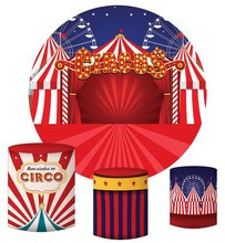 Circus Photo Background Birthday Party Round Backdrop Kids Curtain Banner Dessert Cake Table Photobooth