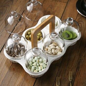 Креативная керамическая тарелка для закусок, тарелка для фруктов, стеклянная крышка, тарелка для десертов, тарелка для сухофруктов, Совреме...