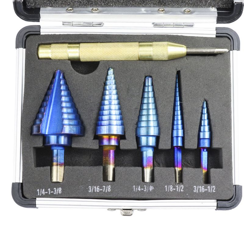 Купить с кэшбэком 6 Pcs HSS Nano Blue Coated Step Drill Bit with Center Punch Set Hole Automatic