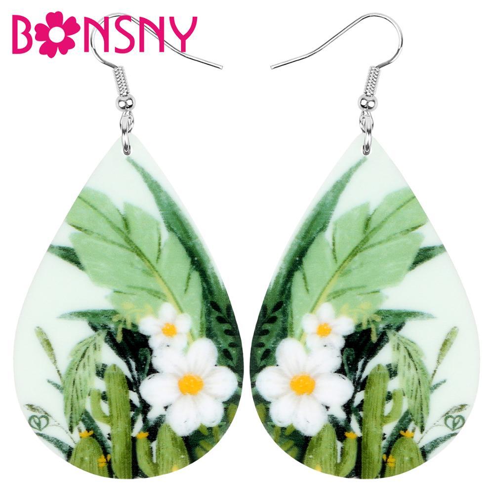 Bonsny Acrylic Teardrop Daffodils Narcissus Flower Earrings Drop Dangle Jewelry Ornaments For Women Lady Girl Teen Kid Gift Bulk