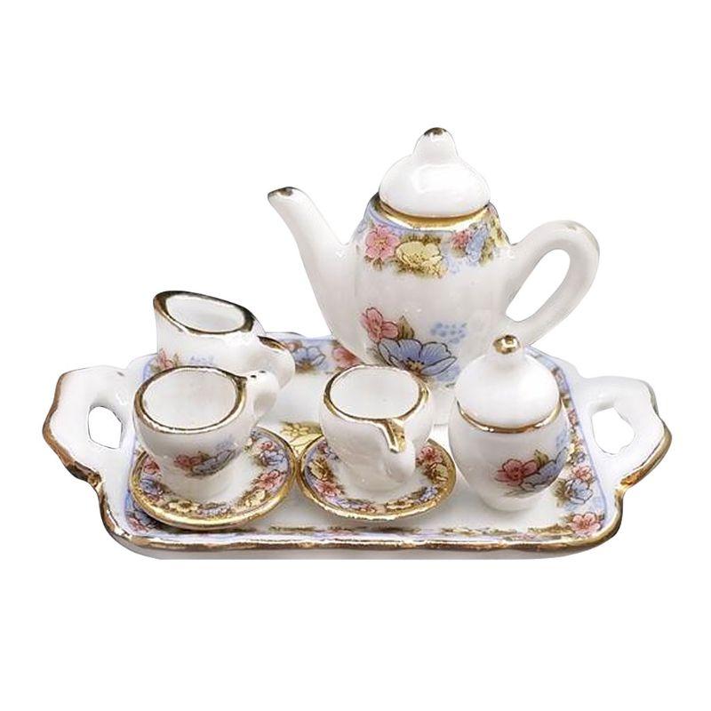 1:12 Dollhouse Miniature Porcelain Pink And Gold Tea Set Decorative Accessories