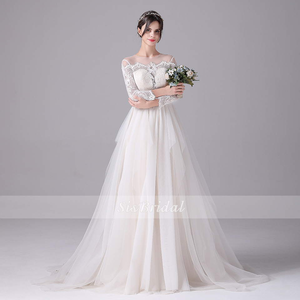 Ball Gown Bateau Sweep Train Tulle Wedding Dress With Lace For Wedding Party