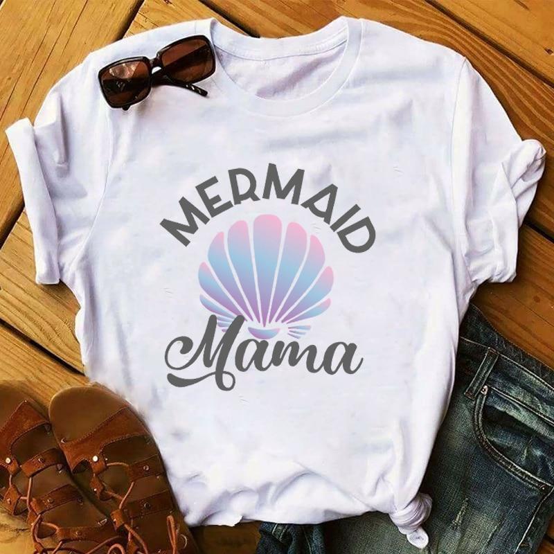 Women 2020 Mermaid Mama Fashion Mom Sleeve Lady Mother Day Ladies Womens Tee T-Shirt Graphic Female Top T Shirt T-shirts