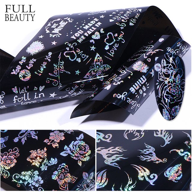 10pc Holographic Sticker for Nails Mixed Nail Foils Flower Rose Snowflakes Transfer Adhesive Paper Black Clear Decoration CH9018