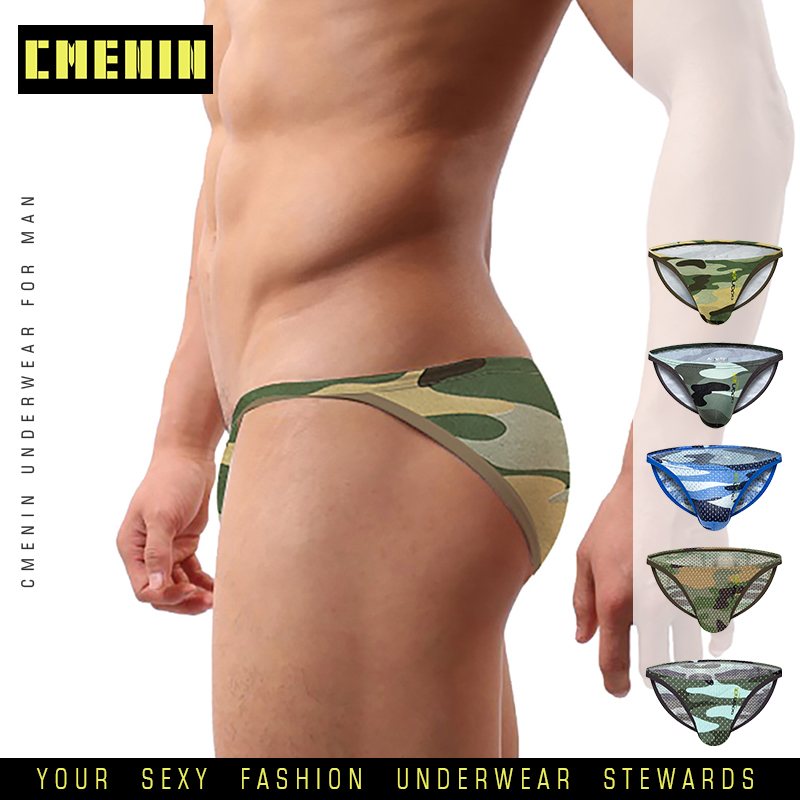 Brand Men Underwear Mesh Qucik-Dry Sexy Men Briefs Breathable Mens Slip Cueca Male Panties Underpants Briefs Camouflage Cotton