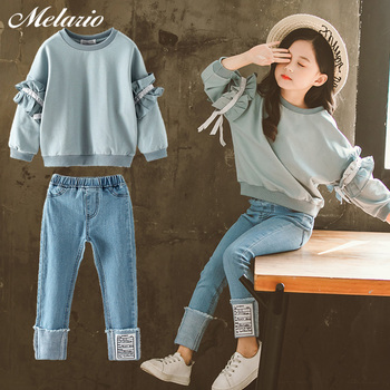 Melario New Girls Boutique Outfits Teen Girls Clothes Children's Clothing Suits Top Demin Pants Suit 2pcs Teenager Clothing Sets цена 2017