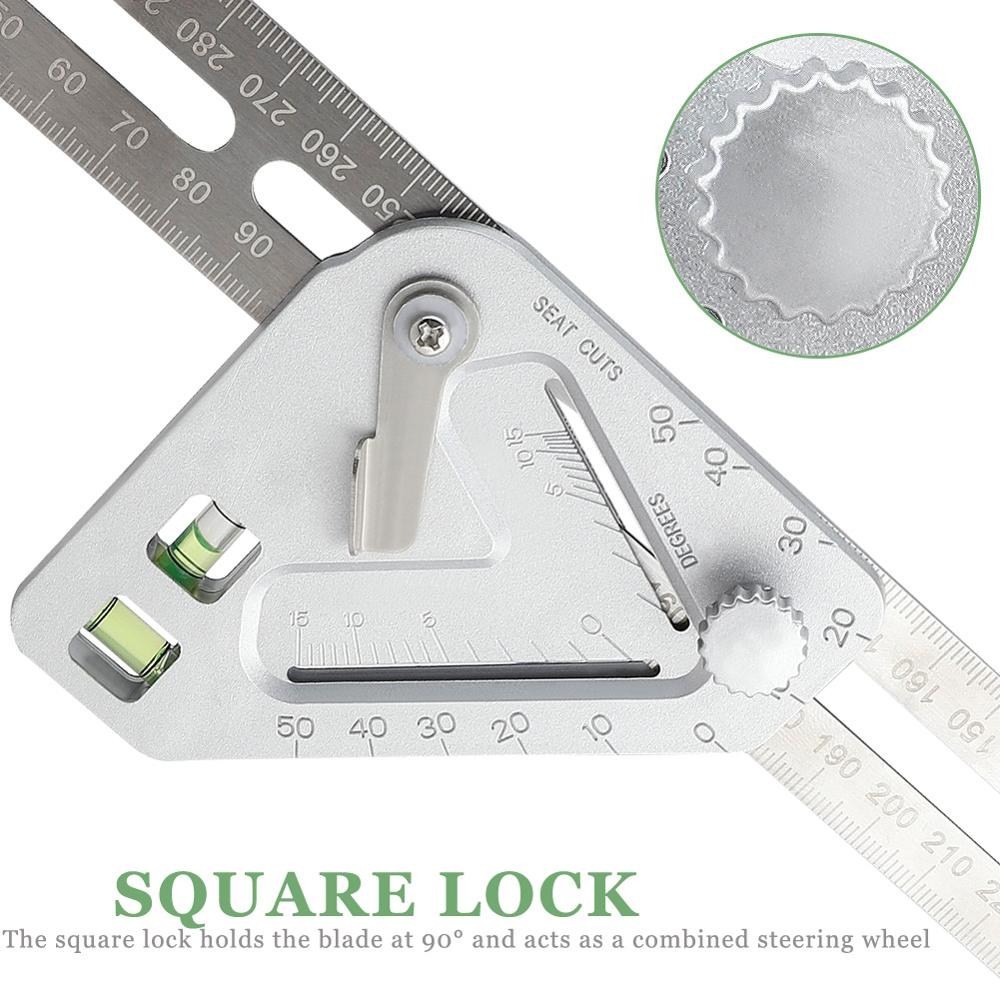 Stainless Revolutionizing Carpentry Multi-function Measuring Tool Angle Ruler