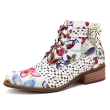 Puimentiua Fashion Brand Women Ankle Boots Print Floral High Heel Ladies