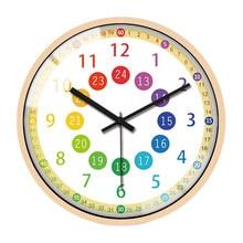 Horloge murale pratique et silencieuse pour enfants, horloge décorative colorée à piles, pour chambre à coucher, salle de classe