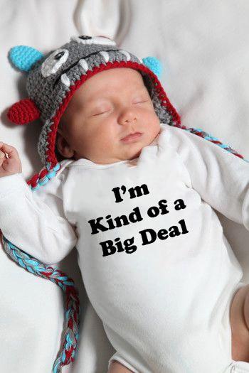 Infant Baby Long Sleeve Jumpsuit I'm Kind of A Big Deal Funny Print NewbornBodysuit Hipster Toddler Cute Jumpsuit