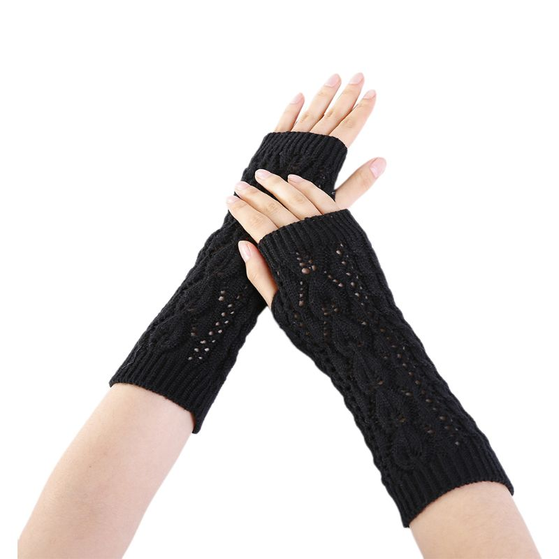 Women Winter Hollow Out Leaf Crochet Fingerless Gloves Ribbed Knit Trim Arm Warmers Solid Color Stretchy Mittens With Thumbhole