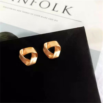 Personality irregular stylish ins mist matte triangular geometric contorted frosted stud earrings image