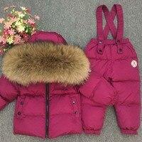 Russian Winter Down Suit Super Warm Children Winter Suits Boys Girl Duck Down Jacket Clothing Set Kids Snow Wear